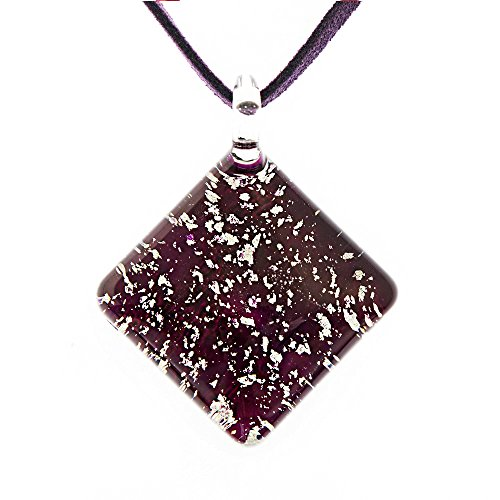 Hand Blown Murano Glass Glitter Silver Stardust Dark Purple Square Pendant Necklace, 18-20