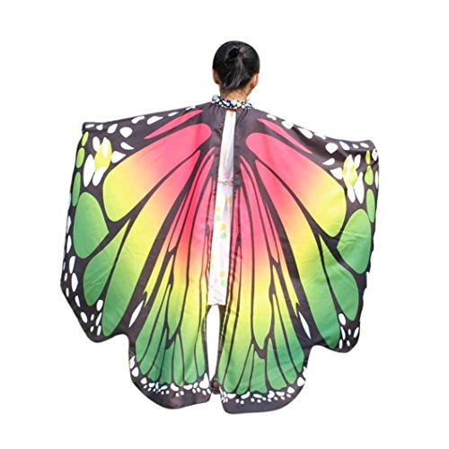 2017 New Kid Girl Halloween Butterfly Wings Shawl Cape Scarf Fairy Poncho Shawl Wrap Costume Accessory (Green, Free Size)]()