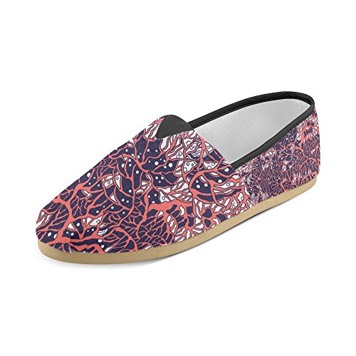 Water Sea hipster Women InterestPrint Coral Deep for Casual Rock Roll music Loafers and in Shoes Beautiful Red zaIgaqPTw