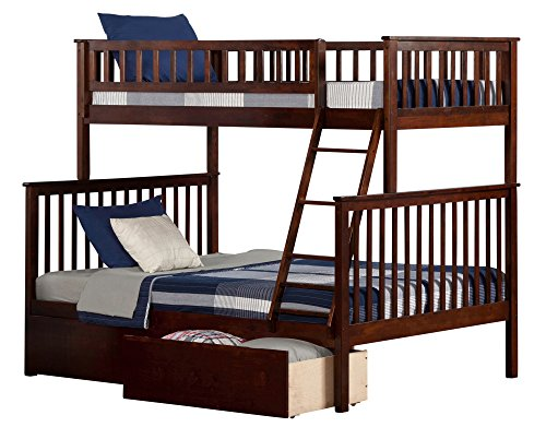 Woodland Bunk Bed with Flat Panel Bed Drawers, Twin over Full, Walnut