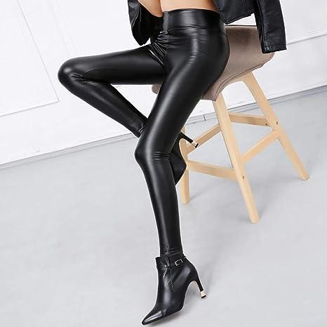d8afca215fd1 Brussels08 Moda Donna Skinny in Ecopelle Leggings Sexy Elastico Nero in Pelle  Pantaloni Aderenti Pantaloni Matita