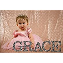 QueenDream Champagne Blush Sequin Wedding Head Table Backdrop -8ft x 8ft