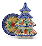 Polmedia Polish Pottery Polish Pottery 8¼-inch Christmas Tree Candle Holder made by Ceramika Artystyczna (Poinsettia Wreath Theme) Signature UNIKAT + Certificate of Authenticity