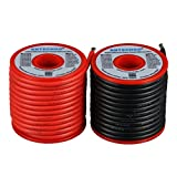 BNTECHGO 12 Gauge Silicone Wire Spool 50 feet Ultra Flexible High Temp 200 deg C 600V 12 AWG Silicone Wire 680 Strands of Tinned Copper Wire 25 ft Black and 25 ft Red Stranded Wire for Model Battery