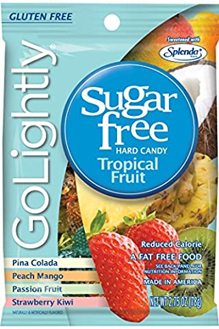 GoLightly Sugar Free Hard Candy, Tropical Fruit, 2.75 Ounce Bag (Pack of 12) - Diabetic Sugar Free Candy