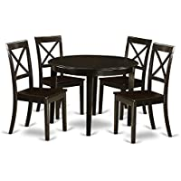 East West Furniture BOST5-CAP-W 5-Piece Kitchen Table Set, Small, Cappuccino Finish
