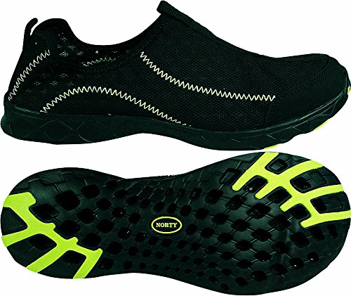 Norty - Mens Breathable Mesh Slip-On Water Shoes, Black, Lime 39688-8D(M)US