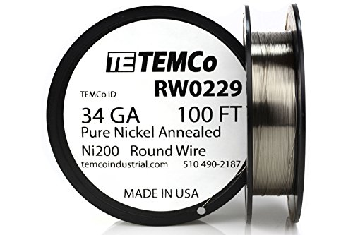 (TEMCo Pure Nickel Wire 34 Gauge 100 Ft non resistance AWG Ni200 Nickel)