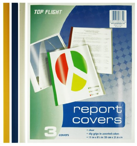 Top Flight 4005068 Report Covers, Clear Plastic with Assorted Color Slip Grips, 3 Covers per Pack Top Flight Inc.