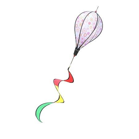 Albio 55 6-Panel Flower Pattern Hot Air Balloon Wind windsocks Kites Garden Yard Lawn Decor Kids Outdoor Toy Windsocks