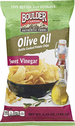 (Boulder Canyon Authentic Foods Olive Oil Kettle Cooked Potato Chips (Sweet Vinegar 5.25 oz., 4 Bags))