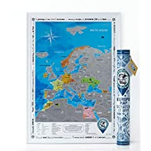 Discovery Map Europe - Europe Map with Scratch off & Detailed Travel Content. Silver Scratch. Special Stickers inside. Perfect Gift for Travelers. ORIGINAL. (Map in Tube)