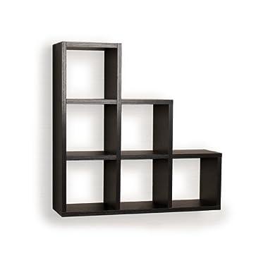 Danya B Stepped Six Cubby Decorative Black Wall Shelf