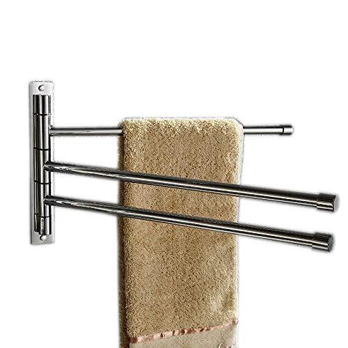 Rail Towel Swing (Hiendure 304 Stainless Steel Swing Out Towel Bar Rod Folding Arm Swivel Towel Rack Hanger Holder Bathroom Kitchen Storage Organizer Rustproof Wall Mount Towel Rail, Brushed Finish)