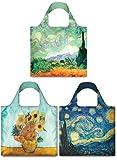 LOQI Museum Vincent Van Gogh Collection Pouch Reusable Bags, Multicolored, Set of 3