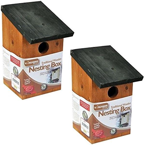 2x madera nidificación Siguiente Caja Pajarera Pequeño Pájaros Herrerillo Petirrojo Sparrow: Amazon.es: Jardín