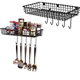 WALL35 Industrial Decor Metal Wire Baskets - Wall Mounted Hanging Kitchen Storage Organizer with Hooks Black Set of 2
