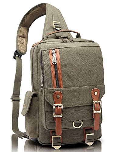 KAUKKO Canvas One Strap Sling Cross Body Laptop Messenger Bag Travel Outdoor Messenger Shoulder Bag Army Green