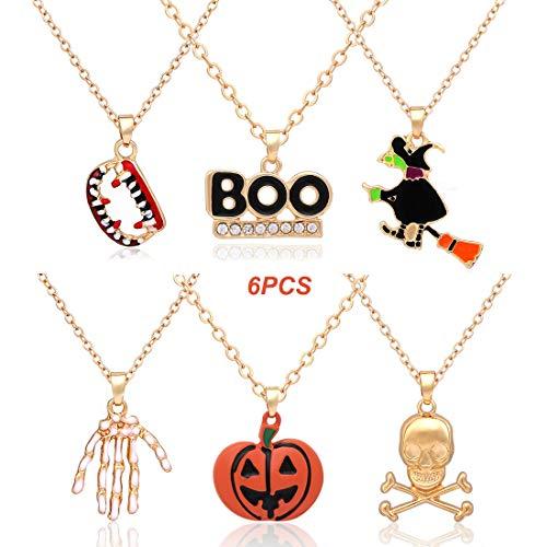 XOCARTIGE Halloween Necklace Set Ghost Pumpkin Boo Cat Pendant Necklaces Party Gift for Girls Women(3PCS/4PCS/6PCS/8PCS) (D -