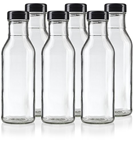 12 Label Oz Bottle (12 oz Professional Clear Glass Thick Wall Sauce Bottle with Drip Resistant Flip Top Cap (6 Pack) + Labels for BBQ Sauce, Salad Dressings, more)