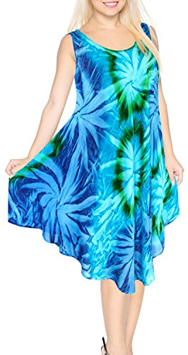 LA LEELA Rayon Tie Dye Beach Womens Dress Wear Short Green 3 Plus Size ()