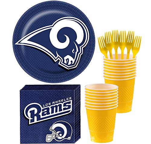 (Party City Basic Los Angeles Rams Party Kit for 18 Guests, Football Party Supplies, Includes Plates, Cups and)