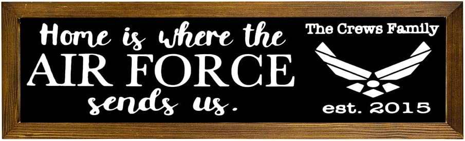 EricauBird Home is Where The Air Force Sends Us Wood Sign, Military Sign, Decorative Home Wall Art, Framed Sign for Home Wedding Party Farmhouse, Personalized Housewarming Family Present,6x20