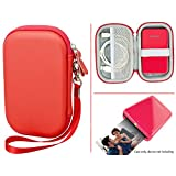 Travel Case for Polaroid ZIP Mobile Printer and HP Sprocket Portable Photo Printer and other similar size Portable Printer, with Pouch for Photo Paper and Cable (Red)