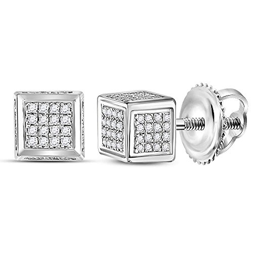 Diamond Silver Cluster Earrings - Sterling Silver Mens Round Diamond 3D Square Cluster Stud Earrings 1/3 Cttw