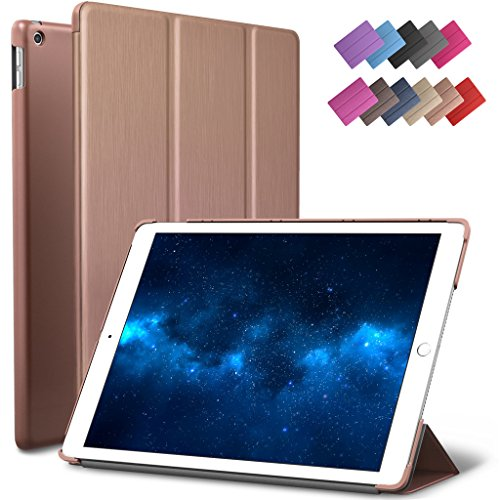 New iPad 9.7 2017 Case, ROARTZ Rose Gold Slim Fit Smart Rubber Coated Folio Case Hard Shell Cover Light-Weight Auto Wake/Sleep For Apple iPad 9.7-inch 5th generation Model A1822/A1823 Retina