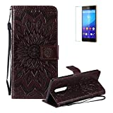 Funyye Strap Magnetic Flip Case for Sony Xperia XZ4,Premium Brown Sunflower Embossed Pattern Folio Wallet Case with Stand Credit Card Holder Slots PU Leather Case for Sony Xperia XZ4