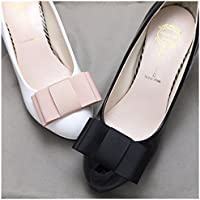 Douqu A Pair Simple Elegant and Retro Style Assorted Color Plain Ribbon Bow Butterfly High Heel Shoe Clips (Black)