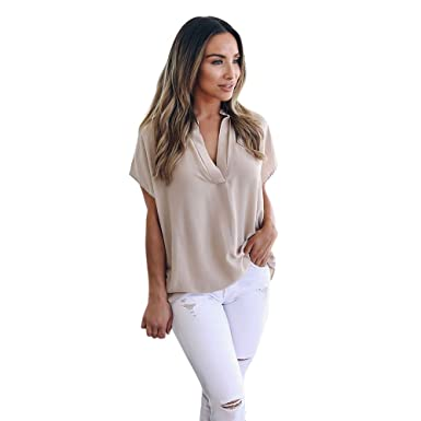 Xavigio Women Tops and Blouses Women s Chiffon Short Sleeve V-Neck Casual  Shirts Blouse Loose Tunic 75413cdc6a35