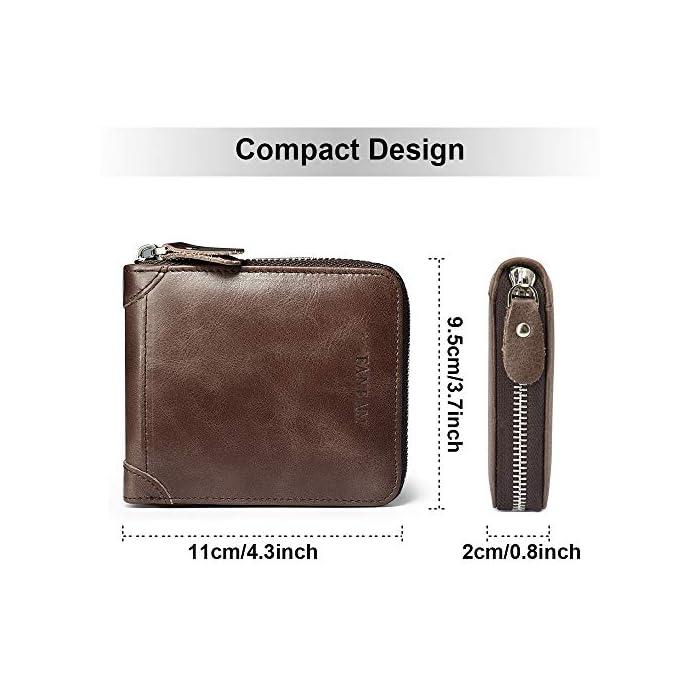 510zD1w ZtL 1.Bloqueo RFID Tecnología: esta RFID cartera hombre pequeña está equipada con tecnología de RFID, que puede proteger su información personal; Faneam cartera de cuero para hombre está hecha de cuero original, el material es muy suave y tiene un diseño clásico. 2.Estructura Excelente: esta RFID billetera hombre pequeña viene con 1 bolsillo principal para efectivo, 8 ranuras para tarjetas(incluyendo 2 ventana de ID), Además, la cartera contiene un monedero con boton de acero inoxidable. El Faneam cartera hombre piel los hombres debe ser perfecto para sus necesidades diarias, especialmente cuando viaja. 3.Regalos Ideales para Hombres: las monedero hombre pequeño vienen con una exquisita caja de regalo; Le proporcionaría mucha comodidad, no las encontrará en muchas carteras. Regalo ideal para cualquier caballero como regalos en cumpleaños, San Valentín, Aniversarios, día del padre, día de acción de gracias, Navidad.
