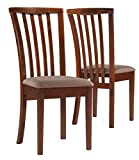 Monarch Specialties 2-Piece Side Chairs with Micro-Fiber, 36-Inch, Oak