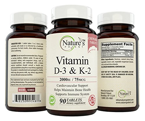 Nature's Potent Vitamin D 3 & K 2 2000 IU/ 75 mcg, 90 Chewable Tablets
