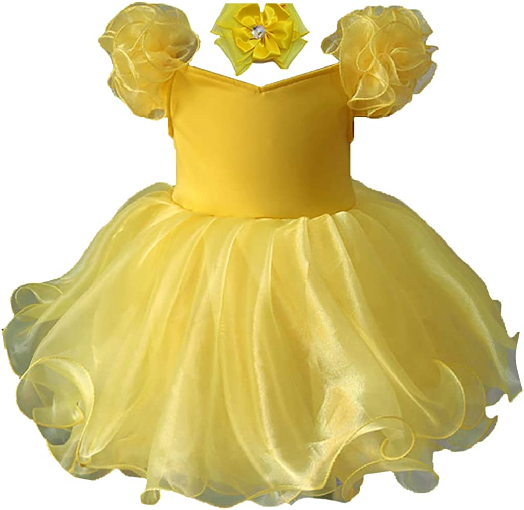 Jenniferwu EB053 Infant Toddler Baby Newborn Little Girl's Pageant Party Birthday Dress Yellow Size 3T