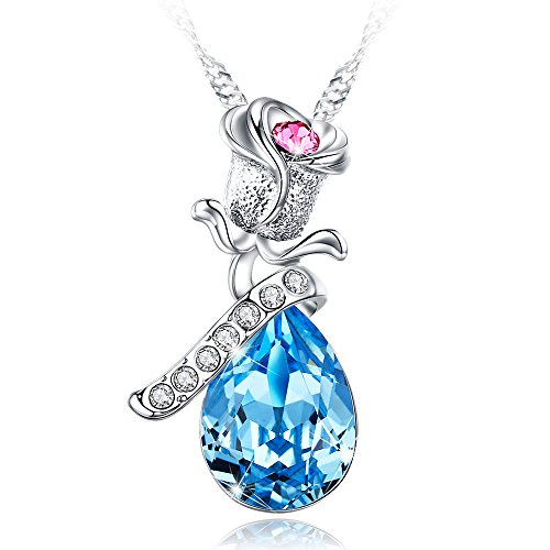 (BLISS TOWN from Daughter Jewelry for Women Crystal Pendant Fashion Necklace for Women Mom Wife Her Mother Daughter Sister Friend Teen Girls Anniversary 30th Birthday Gifts for Women)