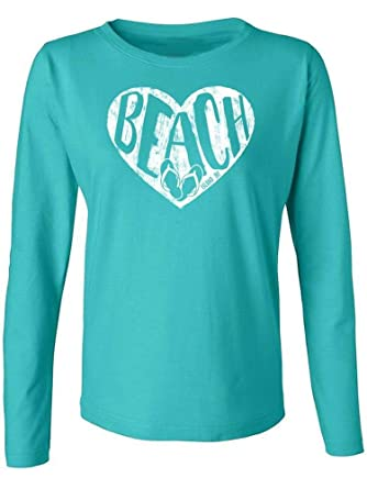a7558502a1ec64 Amazon.com  Island Jay Ladies Beach Heart Long Sleeve T-Shirt  Clothing