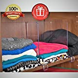 ClosetMate Shelf Dividers for Retail Stores - 4 Pack Acrylic Shelving Solution Will Match Most Retail Shelf System, Organizer Separators, Beautiful Clear Shelf Dividers