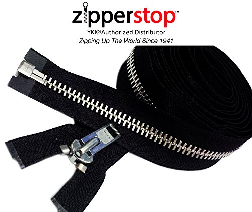 Aluminum Zipper - ZipperStop Wholesale YKK® - Chaps Zipper (Special Custom Length) YKK® #10 Extra Heavy Duty Aluminum Separating Color Black Made in USA (Length 27 Inches)