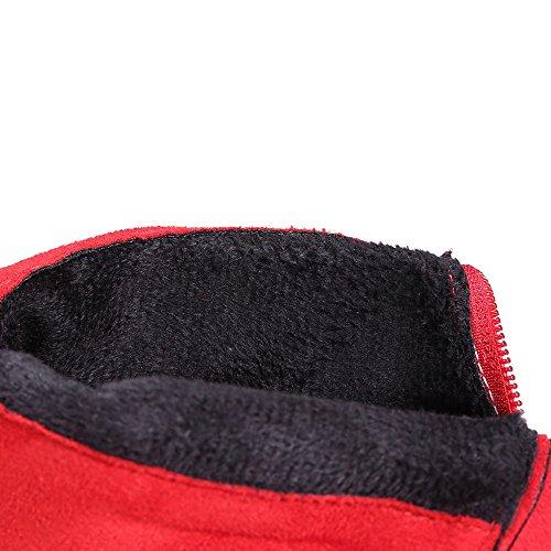 COOLCEPT Mujer Moda Stiletto Fiesta Vestir Botas With Back Cremallera Red