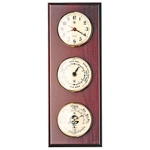 Bey-Berk International Palisade Wall Clock and Weather Station - 6 Inches Wide