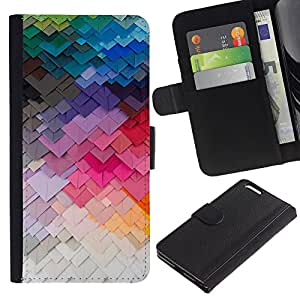 KLONGSHOP // Tirón de la caja Cartera de cuero con ranuras para tarjetas - Arte moderno de construcción Colores - Apple Iphone 6 PLUS 5.5 //