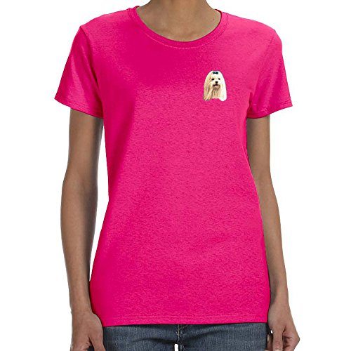 Cherrybrook Dog Breed Embroidered Womens T-Shirts - Large - Heliconia - Maltese