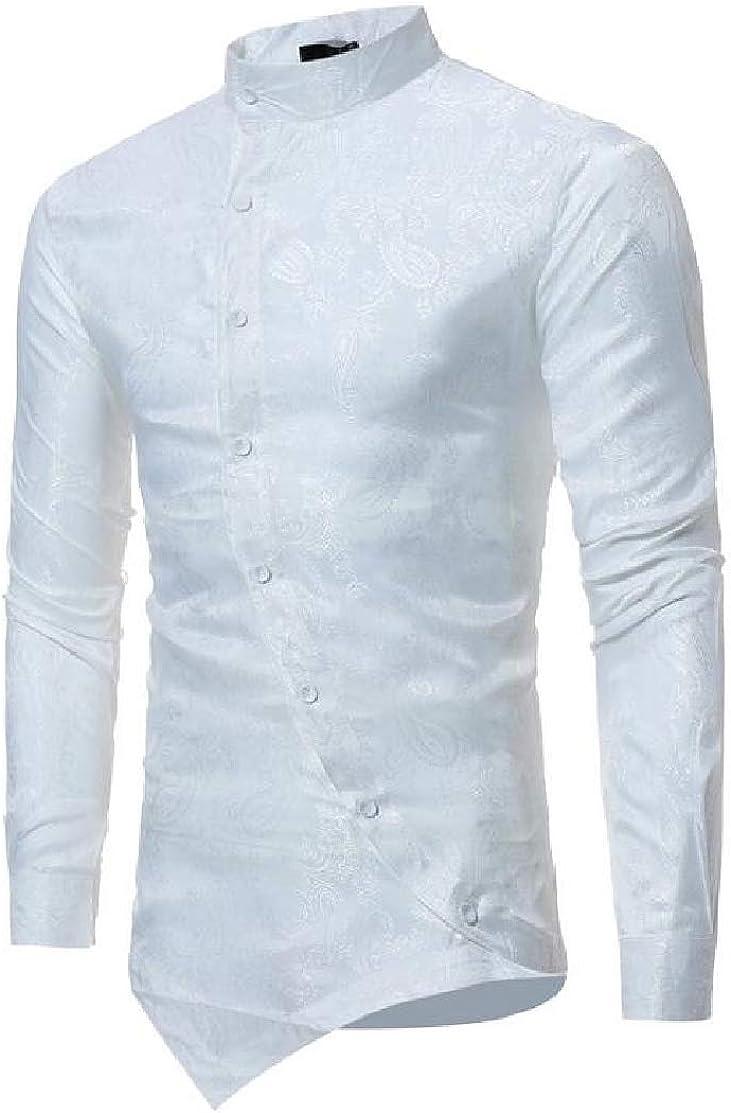 Domple Men Irregular Hem Regular Fit Stand Collar Button Front Long Sleeve Shirt