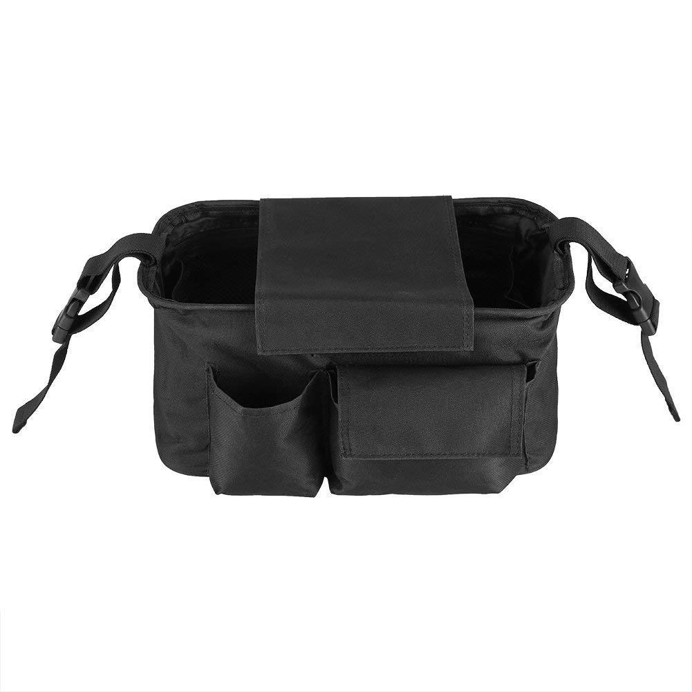 Hyde Borsa per passeggino con tasca e cerniera, borsa portaoggetti per passeggino, Grande spazio Borsa passeggino per passeggino con tracolla (Nero) CHANG YOU