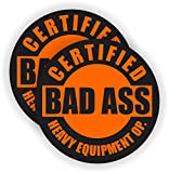 2x Bad Ass HEAVY EQUIPMENT OPERATOR Hard Hat Stickers | Motorcycle Helmet Decals Labels Crane Bulldozer Excavator Truck Construction Badass