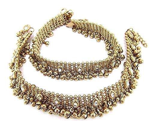 Charms Golden Ethnic Antique Kundan Studded Alloy Anklet by Unknown (Image #9)