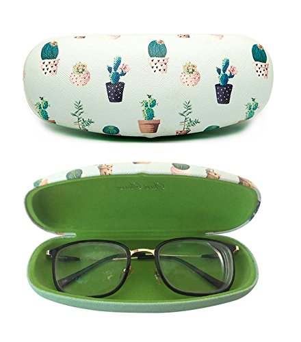 Eyeglasses Clamshell Hard Case Cactus Printed Cute Protective Holder Green (Cactus Glass Reviews)